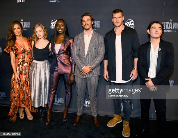 Titans Cast Members Minka Kelly Teagan Croft Anna Diop Brenton Thwaites Alan Ritchson and Ryan Potter attend DC UNIVERSE's Titans World Premiere on...