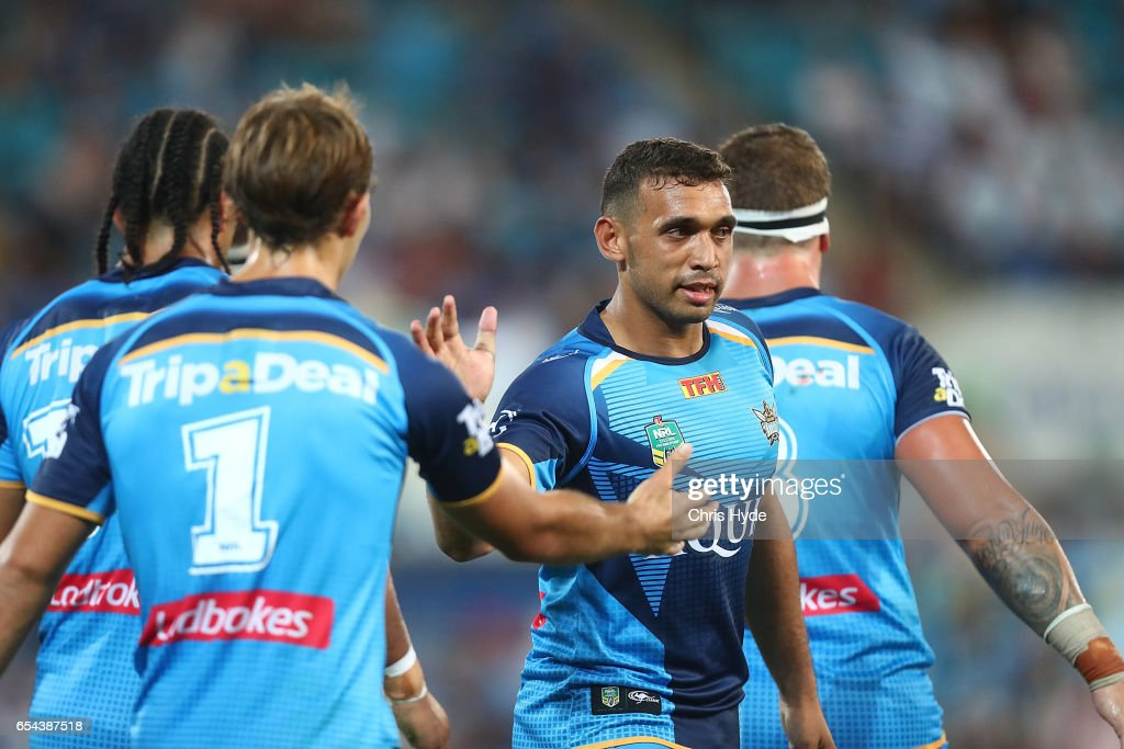Titans celebrate a try by Kane Elgey during the round three NRL match between the Gold Coast Titans and the Parramatta Eels at Cbus Super Stadium on March 17, 2017 in Gold Coast, Australia.