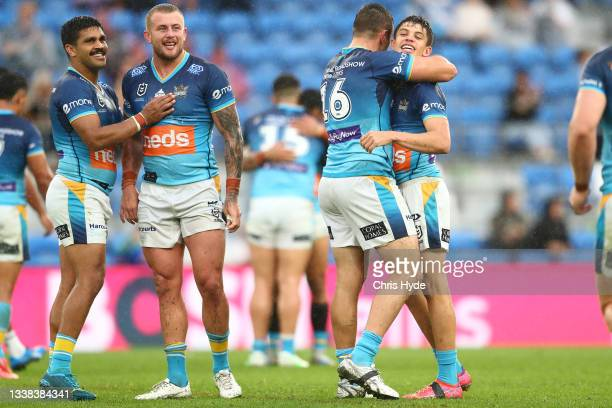 Titans celebrate winning the round 25 NRL match between the Gold Coast Titans and the New Zealand Warriors at Cbus Super Stadium, on September 05 in...