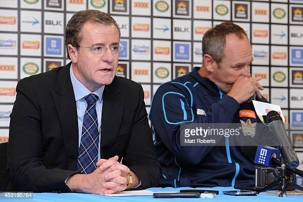 Titans CEO Graham Annesley speaks to the media during a Gold Coast Titans NRL press conference at Cbus Super Stadium on August 5, 2014 on the Gold...
