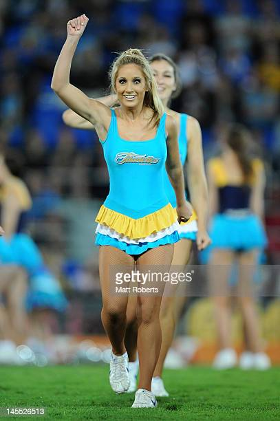 Titans cheerleaders perform before the round 13 NRL match between the Gold Coast Titans and the North Queensland Cowboys at Skilled Park on June 1...