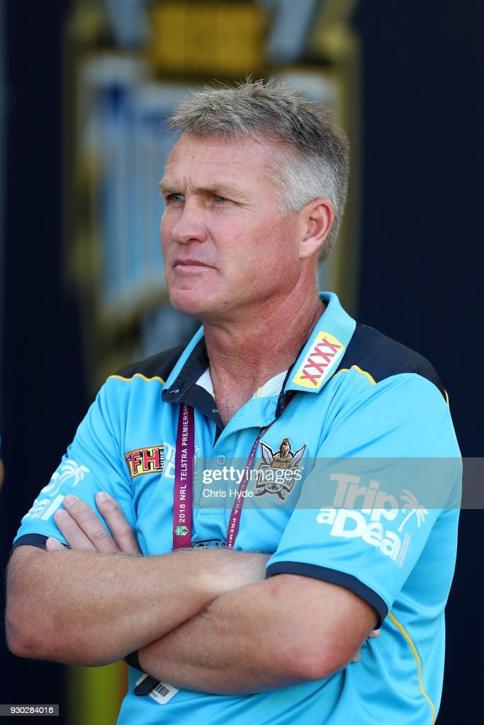 Titans coach Garth Brennan looks on before the round one NRL match between the Gold Coast Titans and the Canberra Raiders at Cbus Super Stadium on March 11, 2018 in Gold Coast, Australia.