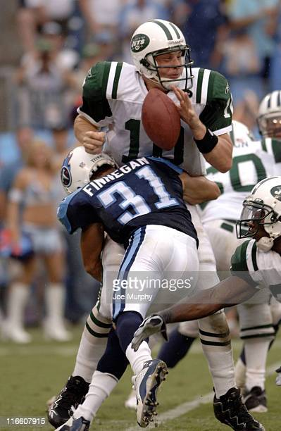 Titans Cortland Finnegan sacks Chad Pennington and forces a fumble during second half action as the New York Jets beat the Tennessee Titans 2316 on...