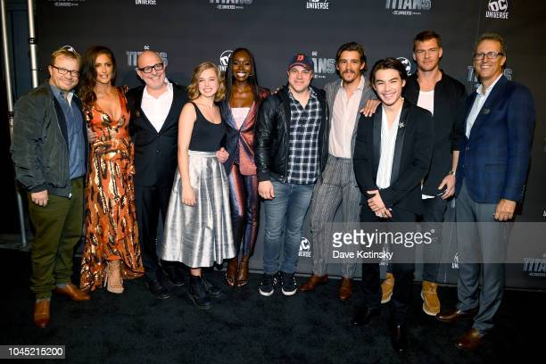 Titans Executive Producers and Cast John Fawcett Minka Kelly Akiva Goldsman Teagan Croft Anna Diop Geoff Johns Brenton Thwaites Ryan Potter Alan...