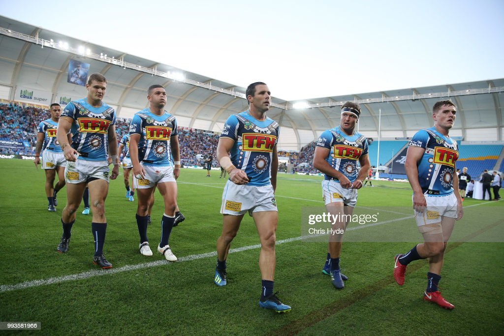 Titans leave the field at half time during the round 17 NRL match between the Gold Coast Titans and the Brisbane Broncos at Cbus Super Stadium on July 8, 2018 in Gold Coast, Australia.