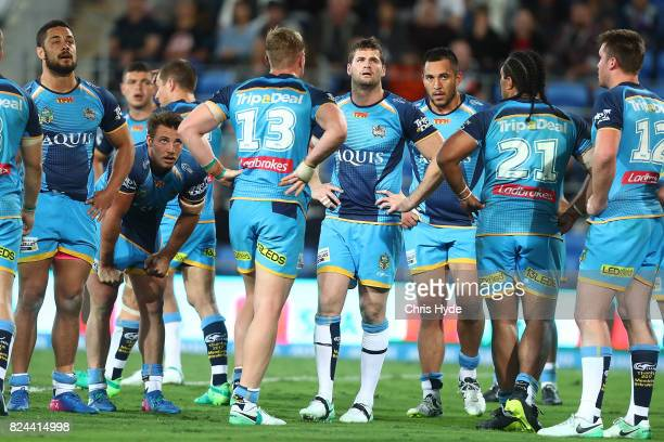 Titans look on during the round 21 NRL match between the Gold Coast Titans and the Wests Tigers at Cbus Super Stadium on July 30 2017 in Gold Coast...