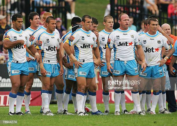 Titans players look dejected after a Sea Eagles try during the round six NRL match between the Manly Warringah Sea Eagles and the Gold Coast Titans...
