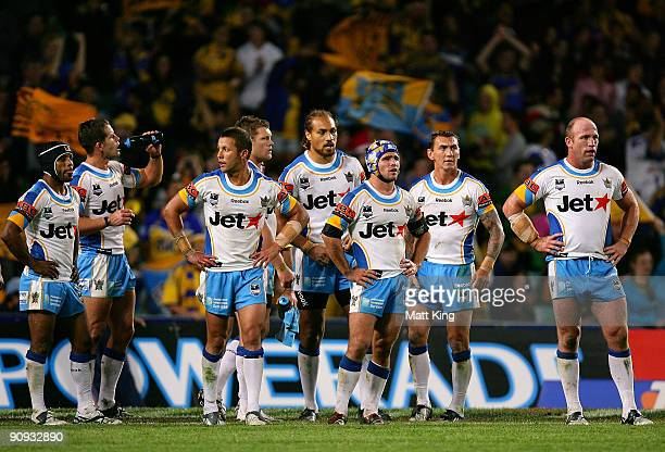 Titans players look dejected after an Eels try during the first NRL semi final match between the Parramatta Eels and the Gold Coast Titans at the...