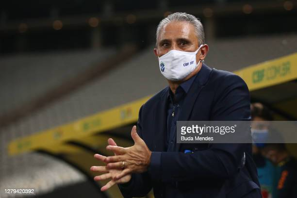 Tite coach of Brazil gestures during a match between Brazil and Bolivia as part of South American Qualifiers for Qatar 2022 at Neo Quimica Arena on...