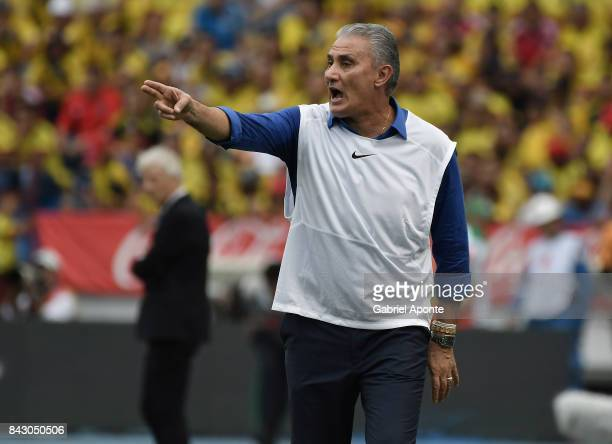Tite coach of Brazil gestures during a match between Colombia and Brazil as part of FIFA 2018 World Cup Qualifiers at Metropolitano Roberto Melendez...