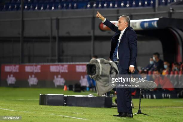 Tite coach of Brazil gestures during a match between Paraguay and Brazil as part of South American Qualifier for Qatar 2022 at Estadio Defensores del...