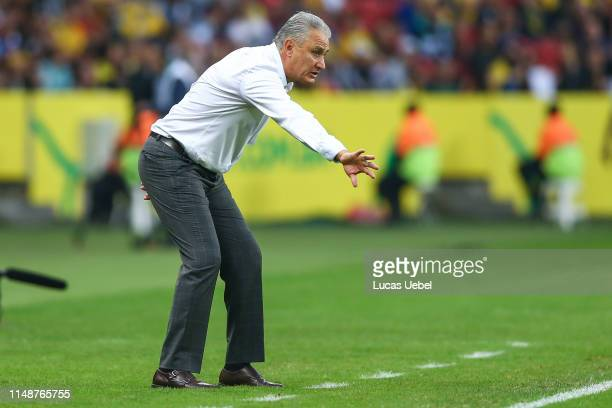 Tite coach of Brazil gestures during the match Brazil v Honduras, at Beira-Rio Stadium on June 9 in Porto Alegre, Brazil.