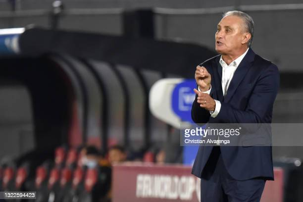Tite coach of Brazil gesturesduring a match between Paraguay and Brazil as part of South American Qualifier for Qatar 2022 at Estadio Defensores del...