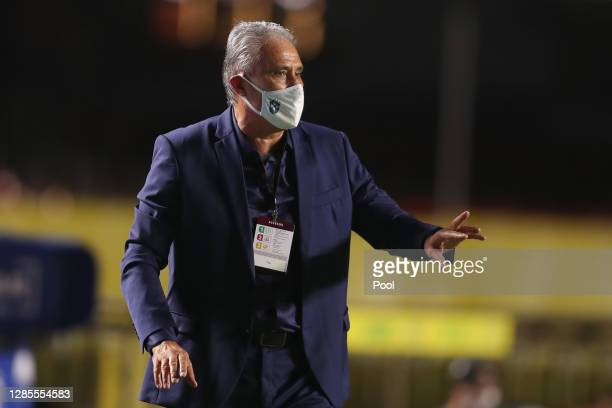 Tite coach of Brazil gives instructions to his players during match between Brazil and Venezuela as part of South American Qualifiers for World Cup...