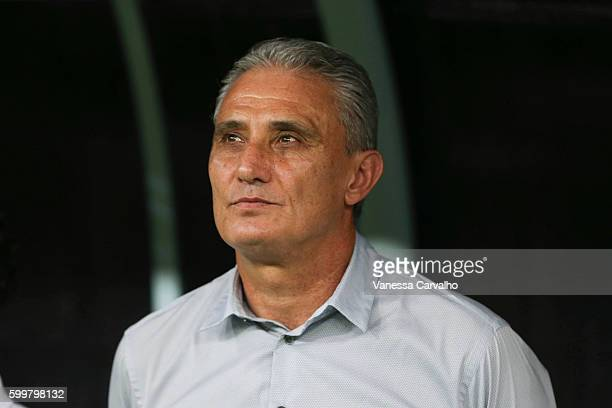 Tite coach of Brazil looks on before a match between Brazil and Colombia as part of FIFA 2018 World Cup Qualifiers at Arena Amazonia Stadium on...