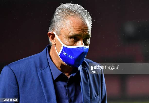 Tite coach of Brazil looks on during a match between Brazil and Venezuela as part of South American Qualifiers for World Cup FIFA Qatar 2022 at...