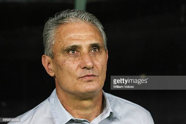 Tite Coach of Brazil looks on during a match between Brazil and Colombia as part of FIFA 2018 World Cup Qualifiers at Arena Amazonia Stadium on...
