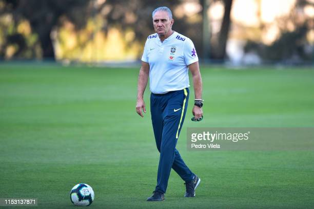 Tite coach of Brazil looks on during a training session at Cidade do Galo on July 1, 2019 in Vespasiano, Brazil.