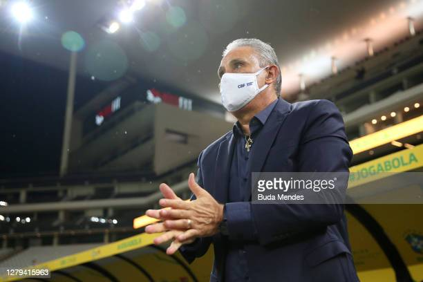 Tite coach of Brazil walks onto the field before a match between Brazil and Bolivia as part of South American Qualifiers for Qatar 2022 at Neo...