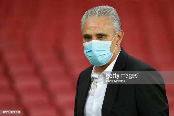 Tite coach of Brazil walks onto the field before a match between Brazil and Ecuador as part of South American Qualifiers for Qatar 2022 at Beira-Rio...