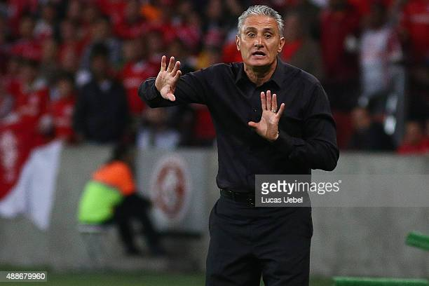 Tite coach of Corinthians during the match between Internacional and Corinthians as part of Brasileirao Series A 2015 at Estadio BeiraRio on...