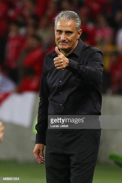 Tite coach of Corinthians during the match between Internacional and Corinthians as part of Brasileirao Series A 2015 at Estadio BeiraRio on...