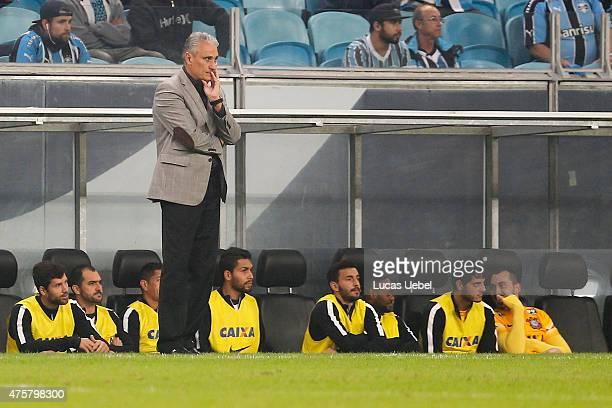 Tite coach of Corinthians during the match Gremio v Corinthians as part of Brasileirao Series A 2015 at Arena do Gremio on June 03 2015 in Porto...