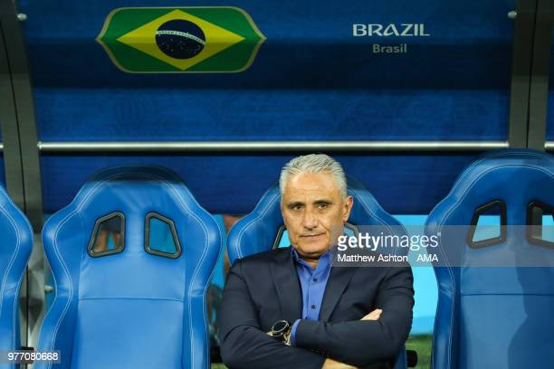 Tite head coach / manager of Brazil looks on prior to the 2018 FIFA World Cup Russia group E match between Brazil and Switzerland at Rostov Arena on...