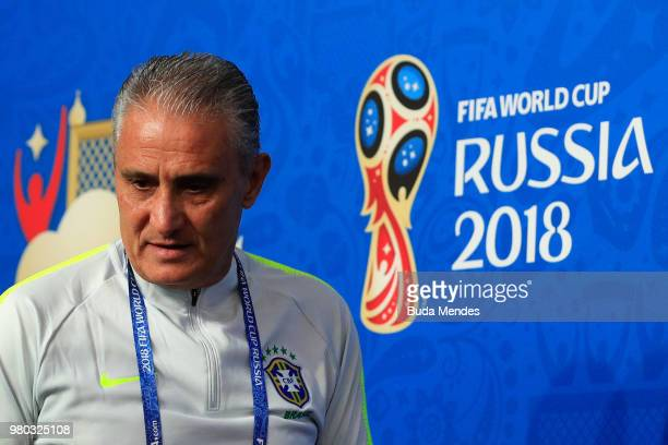 Tite Head coach of Brazil attends a Brazil press conference during the FIFA World Cup 2018 at Saint Petersburg Stadium on June 14 2018 in Saint...