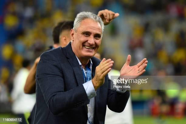 Tite head coach of Brazil celebrates after winning the Copa America Brazil 2019 Final match between Brazil and Peru at Maracana Stadium on July 07,...