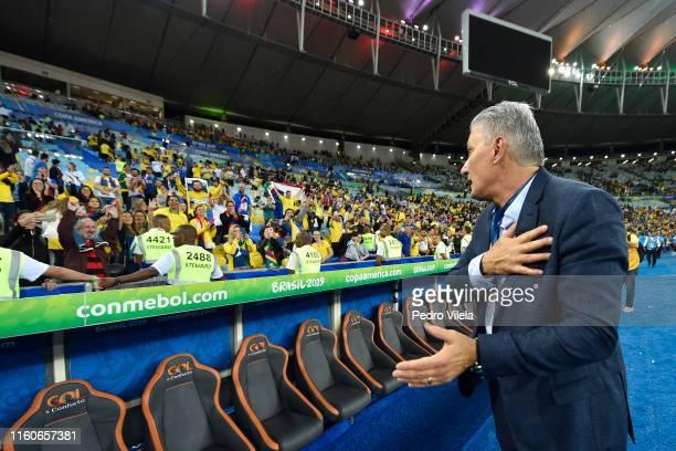 Tite head coach of Brazil celebrates with fans after winning the Copa America Brazil 2019 Final match between Brazil and Peru at Maracana Stadium on...