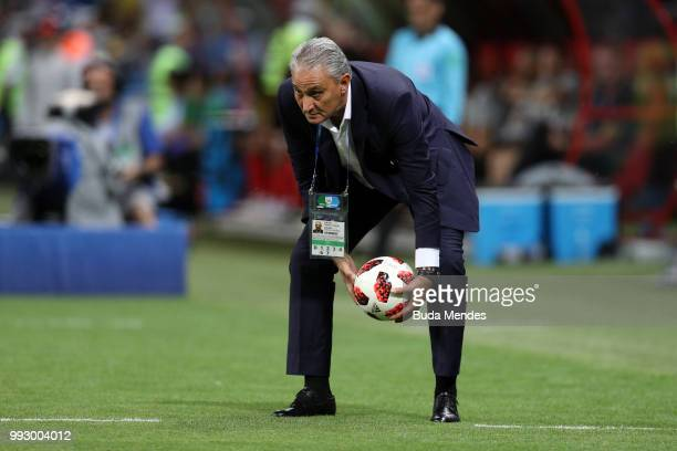 Tite Head coach of Brazil gathers the ball during the 2018 FIFA World Cup Russia Quarter Final match between Brazil and Belgium at Kazan Arena on...