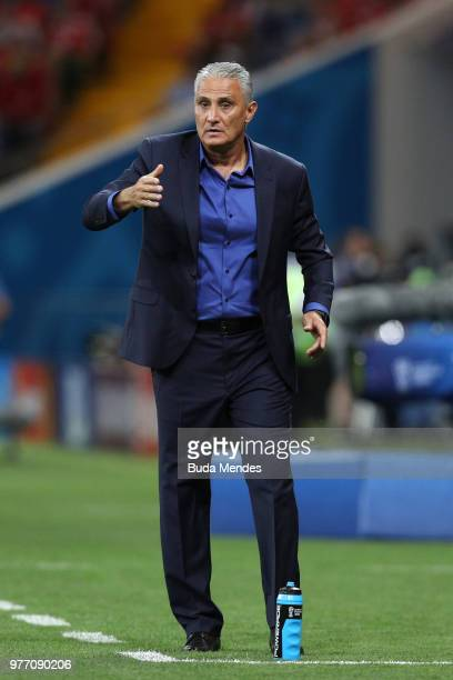 Tite Head coach of Brazil gestures during the 2018 FIFA World Cup Russia group E match between Brazil and Switzerland at Rostov Arena on June 17 2018...