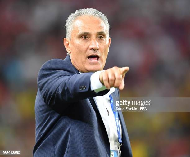 Tite head coach of Brazil gestures during the 2018 FIFA World Cup Russia group E match between Serbia and Brazil at Spartak Stadium on June 27 2018...