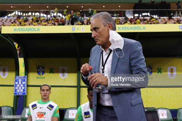 Tite head coach of Brazil gestures prior to a match between Brazil and Uruguay as part of South American Qualifiers for Qatar 2022 at Arena Amazonia...