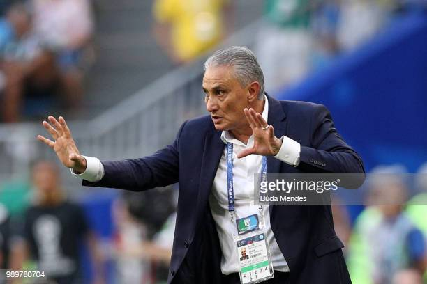 Tite Head coach of Brazil gives his team instructions during the 2018 FIFA World Cup Russia Round of 16 match between Brazil and Mexico at Samara...