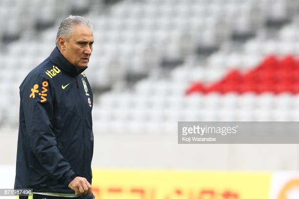 Tite head coach of Brazil in action during a Brazil training session ahead of the international friendly against Japan on November 9 2017 in Lille...