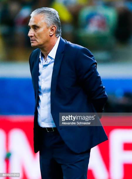 Tite head coach of Brazil in action during the match between Brazil and Chile for the 2018 FIFA World Cup Russia Qualifier at Allianz Parque Stadium...