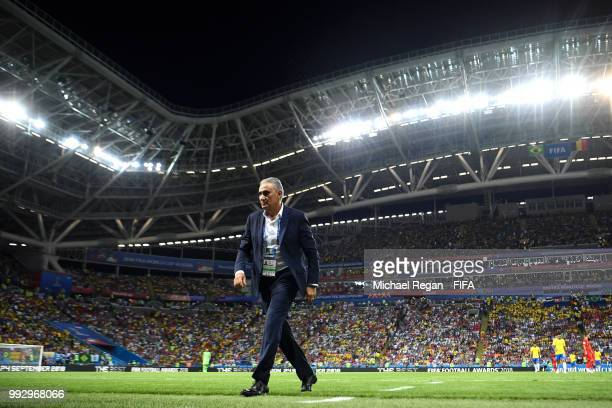 Tite Head coach of Brazil leaves the pitch at half time during the 2018 FIFA World Cup Russia Quarter Final match between Brazil and Belgium at Kazan...