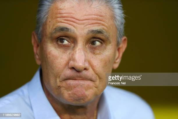 Tite, Head Coach of Brazil looks on ahead of the International Friendly match between Brazil and Korea Republic at Mohammed bin Zayed Stadium on...