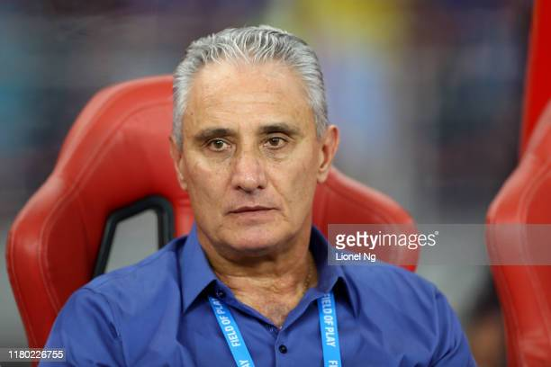 Tite head coach of Brazil looks on before the international friendly match between Brazil and Senegal at the Singapore National Stadium on October...