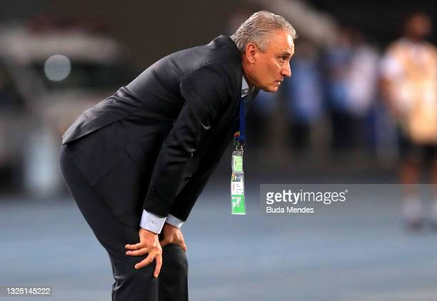 Tite head coach of Brazil looks on during a Group B match between Brazil and Colombia as part of Copa America Brazil 2021 at Estadio Olímpico Nilton...