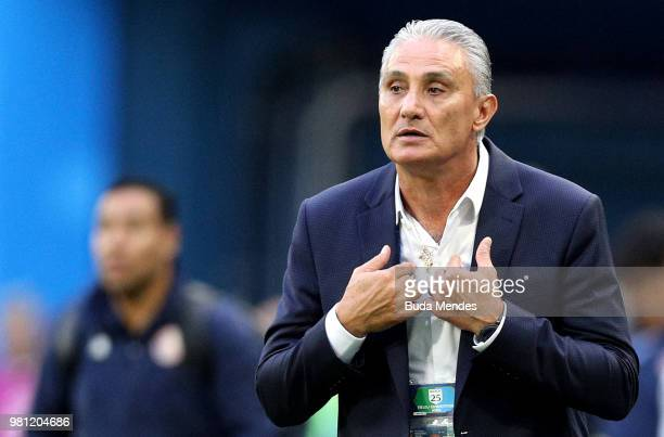 Tite Head coach of Brazil looks on during the 2018 FIFA World Cup Russia group E match between Brazil and Costa Rica at Saint Petersburg Stadium on...