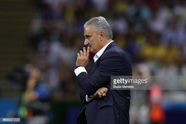 Tite Head coach of Brazil looks on during the 2018 FIFA World Cup Russia Quarter Final match between Brazil and Belgium at Kazan Arena on July 6 2018...
