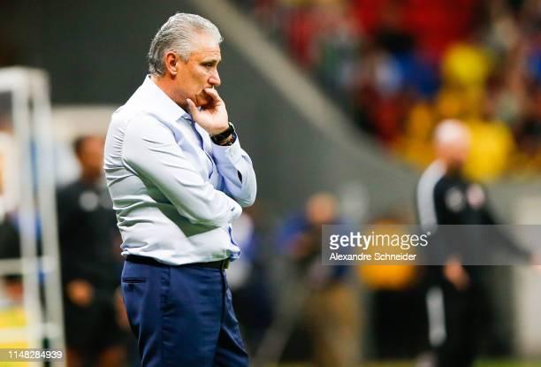 Tite head coach of Brazil looks on during the friendly match against Qatar at Mane Garrincha Stadium on June 05 2019 in Brasilia Brazil
