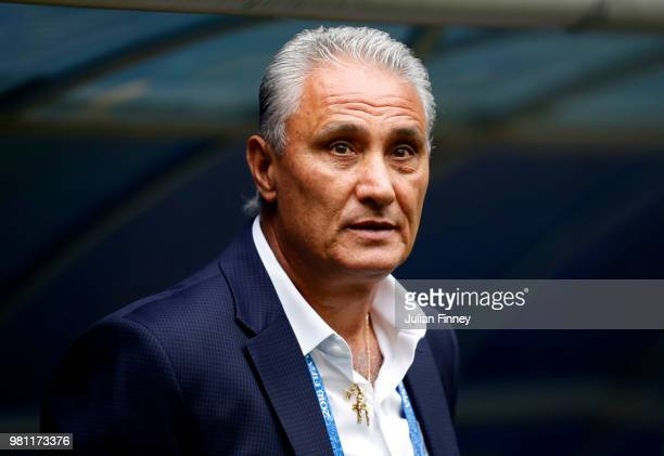 Tite Head coach of Brazil looks on prior to the 2018 FIFA World Cup Russia group E match between Brazil and Costa Rica at Saint Petersburg Stadium on...