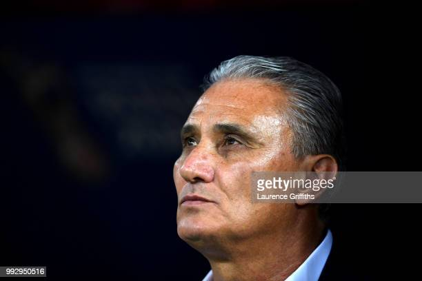 Tite Head coach of Brazil looks on prior to the 2018 FIFA World Cup Russia Quarter Final match between Brazil and Belgium at Kazan Arena on July 6...