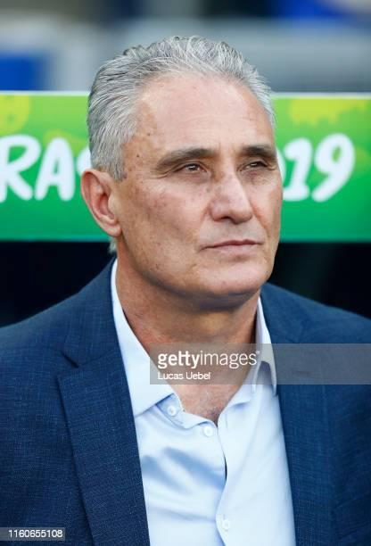 Tite head coach of Brazil looks onduring the Copa America Brazil 2019 Final match between Brazil and Peru at Maracana Stadium on July 07, 2019 in Rio...