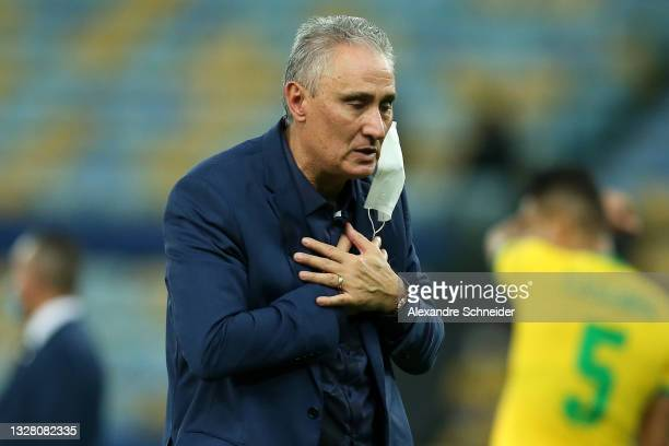Tite head coach of Brazil reacts after the final of Copa America Brazil 2021 between Brazil and Argentina at Maracana Stadium on July 10, 2021 in Rio...