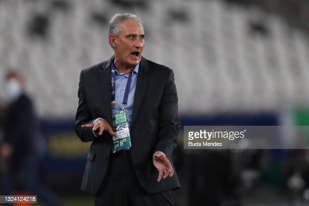 Tite head coach of Brazil reacts during a match between Brazil and Peru as part of Group B of Copa America Brazil 2021 at Estadio Olímpico Nilton...